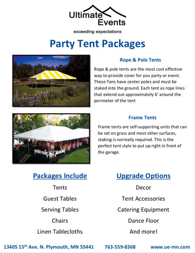 Small Tent Packages Catalog