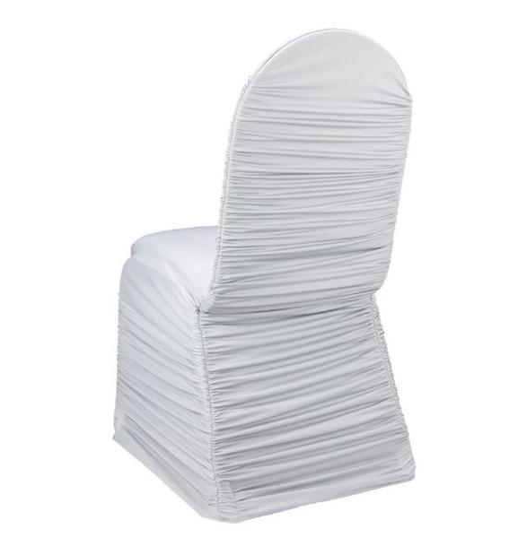 White Ruched Spandex Chair Cover V027